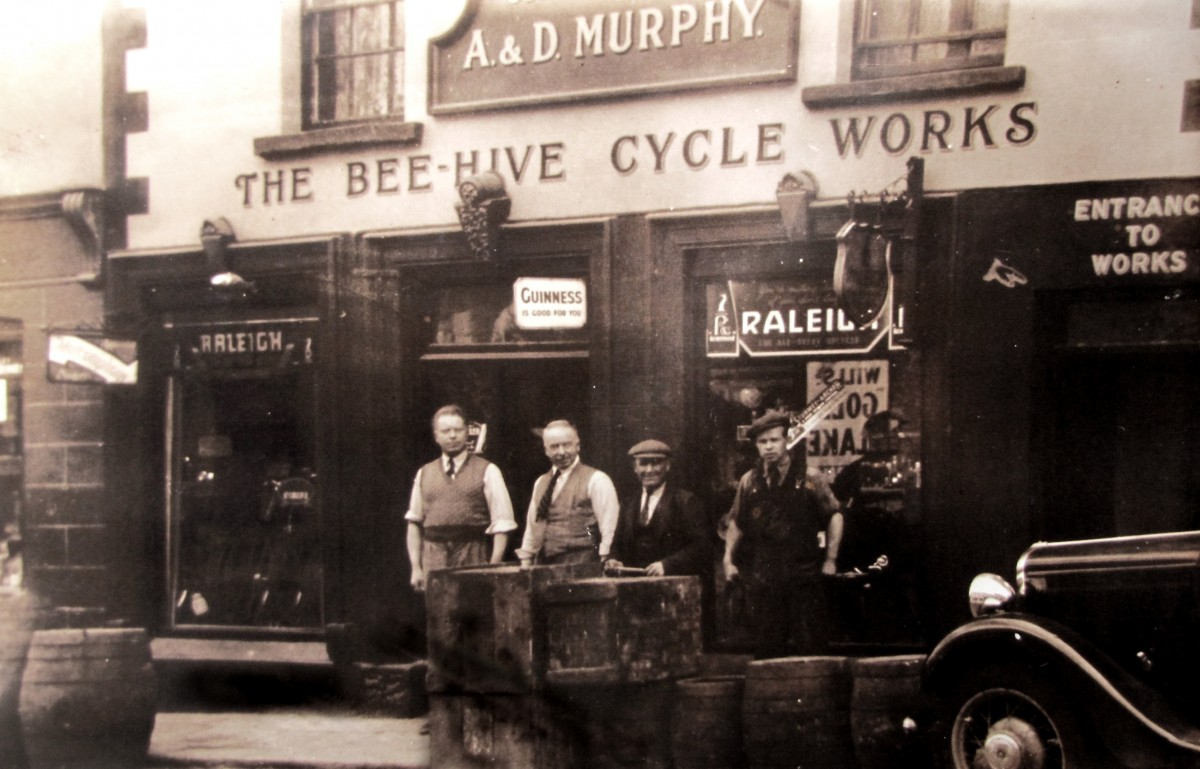 Clerkin // County Monaghan :: Workers outside the Bee-hive Cycle Works in Monaghan