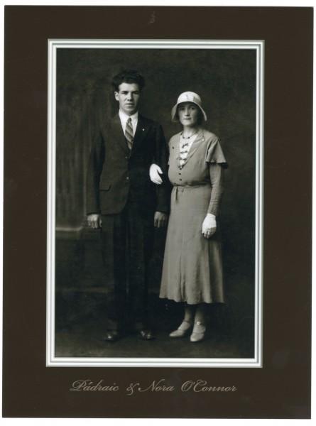 Studio wedding portrait photograph of Padraig and Nora O\'Connor