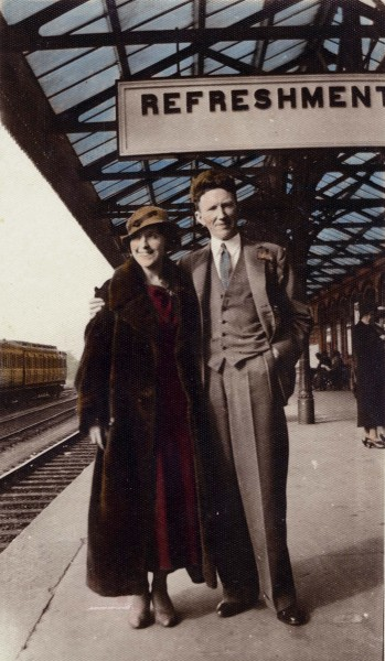 Thomas McCourt and friend seeing off his sister Cissie and new husband Vincey at Dundalk train station