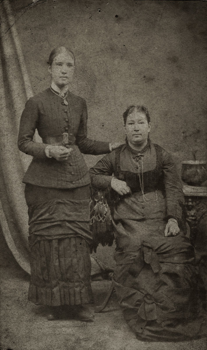 Johnston // County Louth :: Two women seated in Galbraith's photography studio, Clanbrassil Street, Dundalk