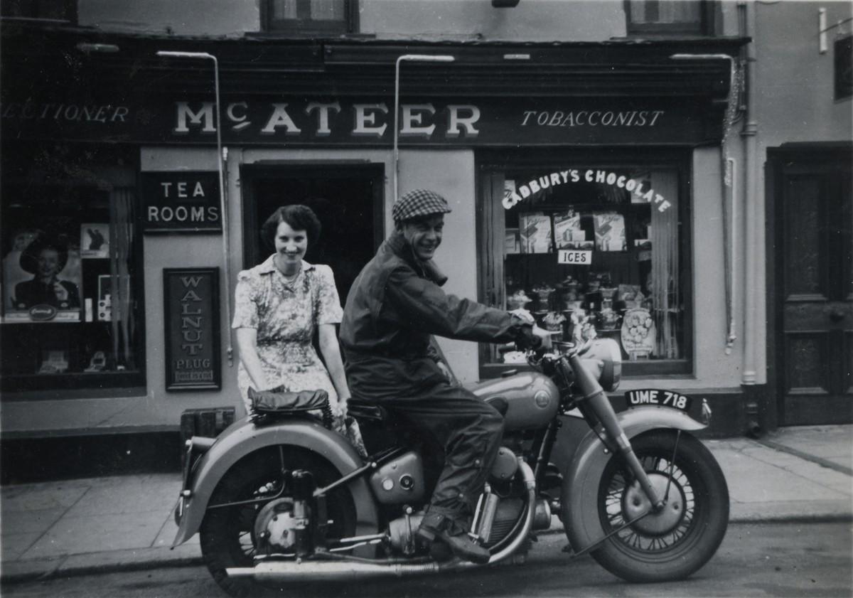 McKeown // County Antrim :: Margaret McKeown outside McAteer's shop in Antrim