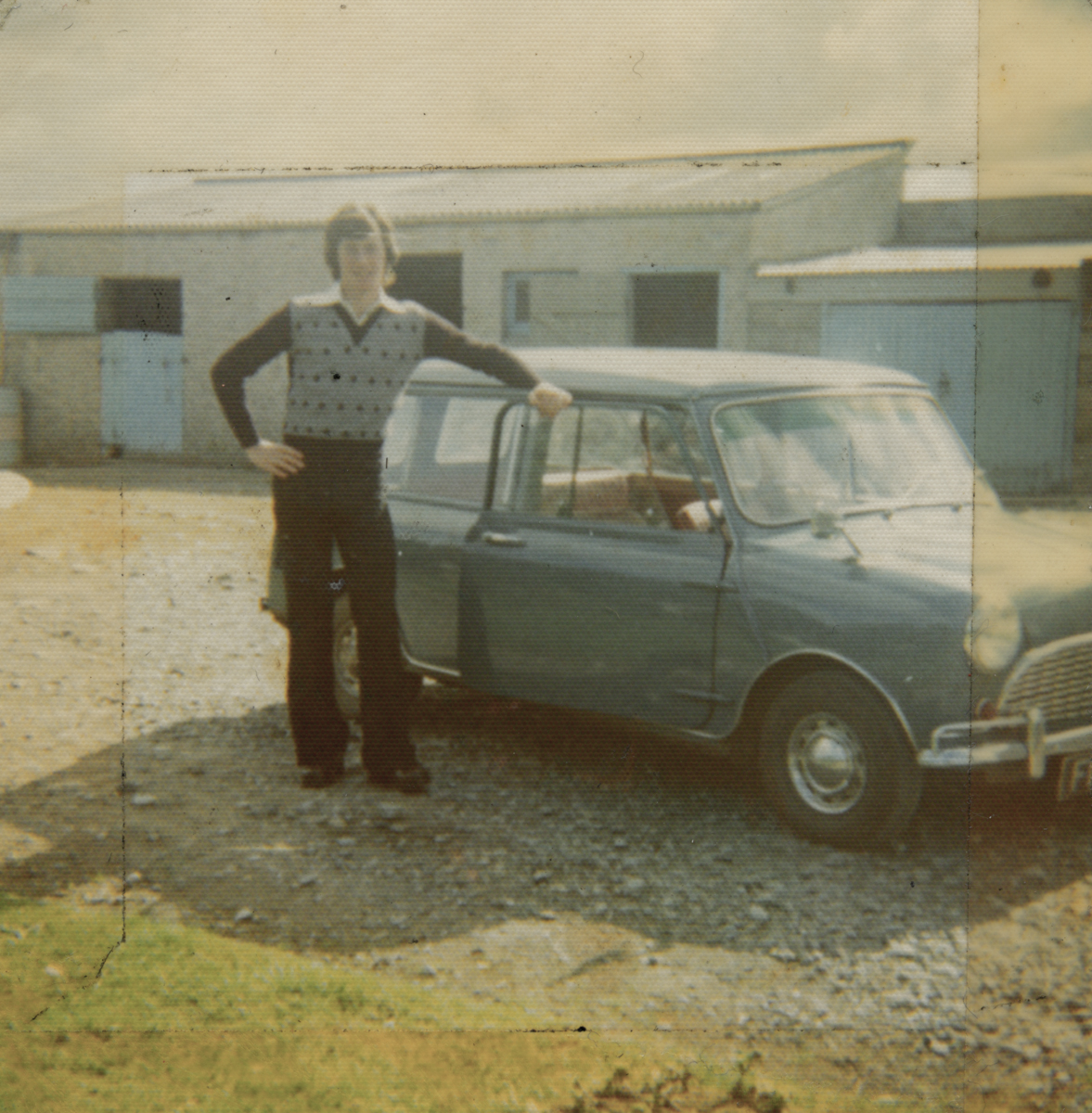 McGing // County Meath :: Austin McGing in family's farmyard, posing with his blue 'Mini'
