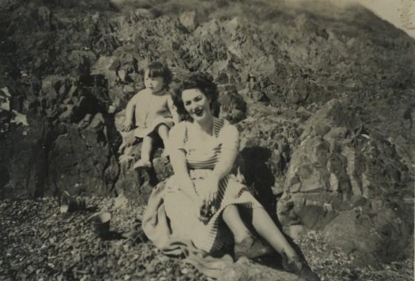 Hazel McKee  on the beach 1950s