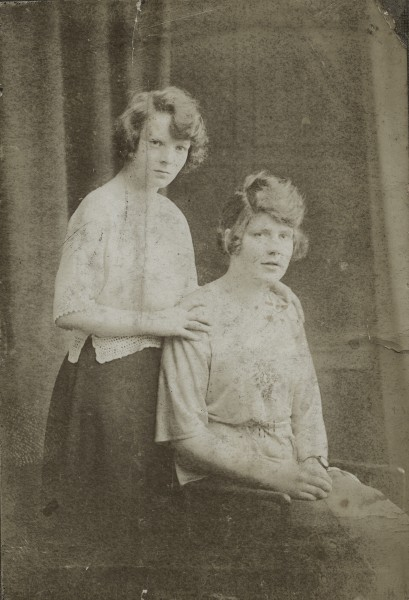 Two young women posing in a Dublin studio