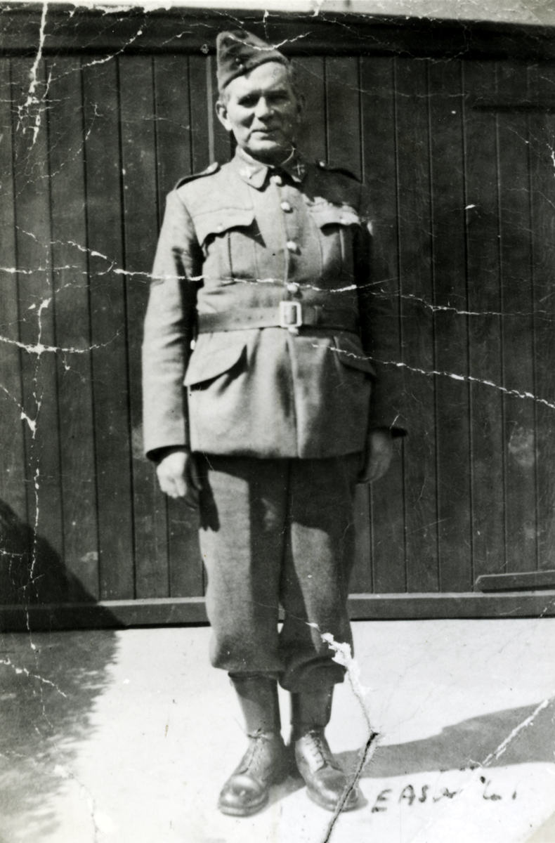 O'Donovan // County Cork :: Cornelius (Con) O'Donovan in Old I.R.A. uniform, 1941 (25th anniversary of Rising)