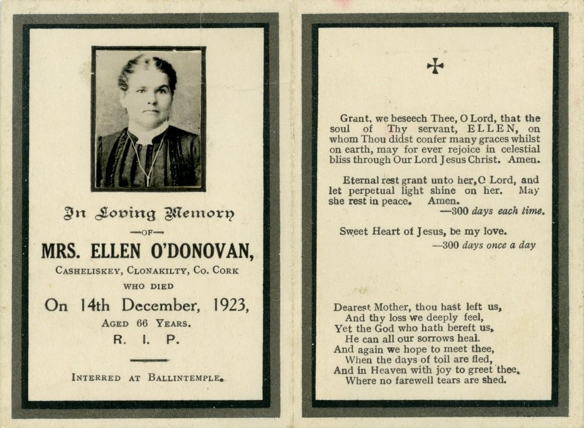O'Donovan // County Cork :: Mass card (booklet) of Ellen O'Donovan