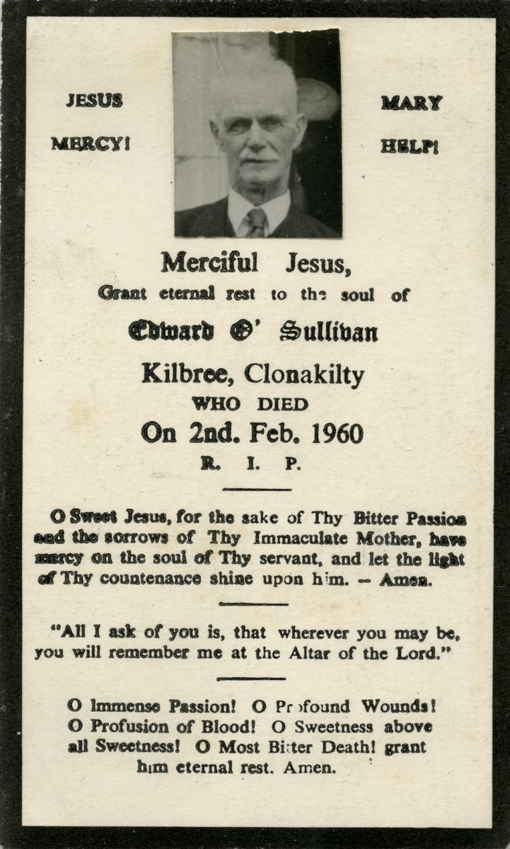 O'Donovan // County Cork :: Mass card of Edward O'Sullivan