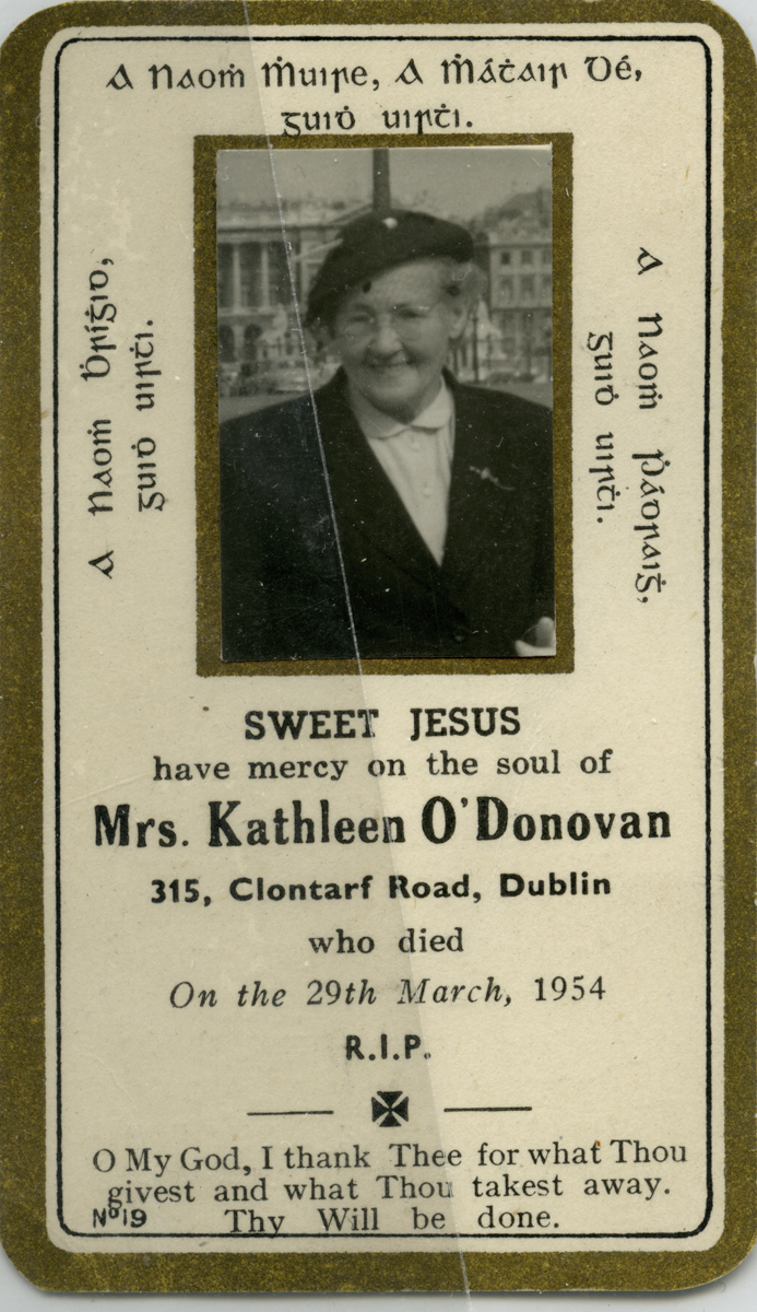 O'Donovan // County Cork :: Mass card of Kathleen O'Donovan