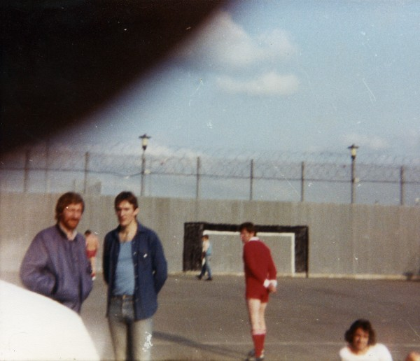 Hidden camera photograph, exercise yard, Maze Prison, 1982