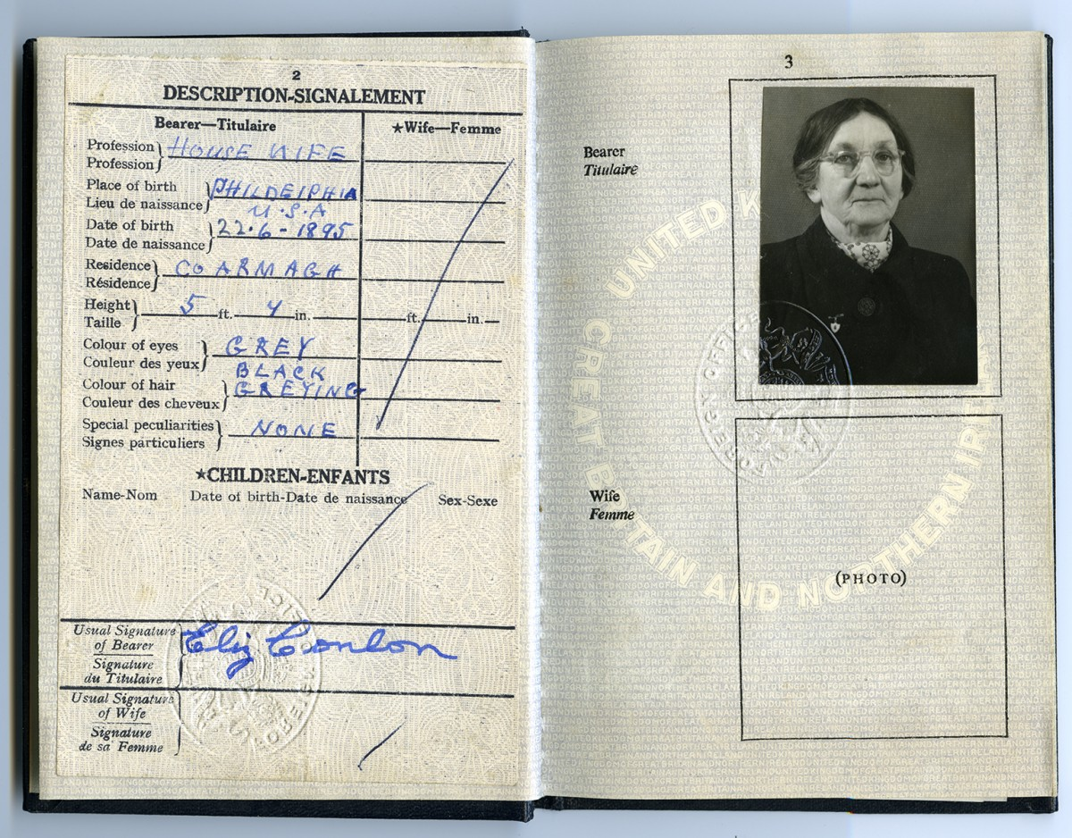 Conlon // County Monaghan :: Passport of Elizabeth Conlon