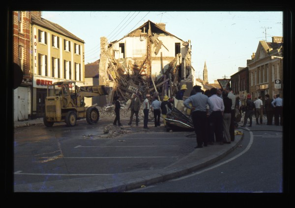 Collapsed building in the aftermath of the Monaghan Dublin bombings