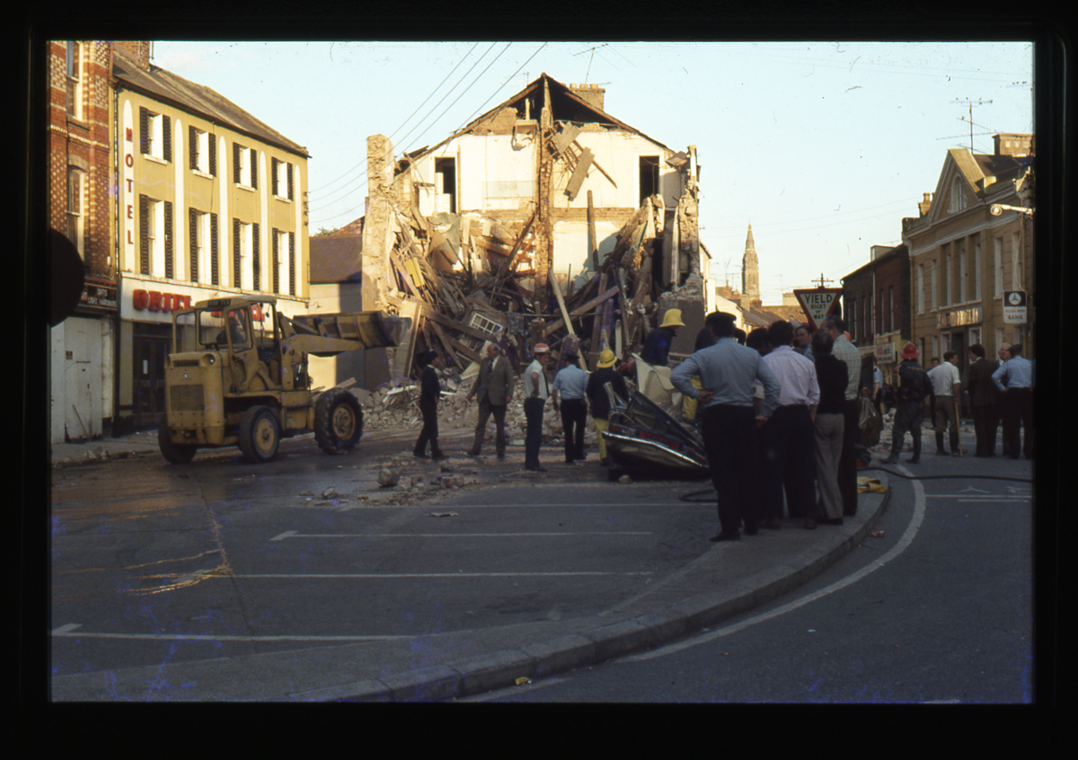 Eugene Clerkin Archive :: Collapsed building in the aftermath of the Monaghan Dublin bombings