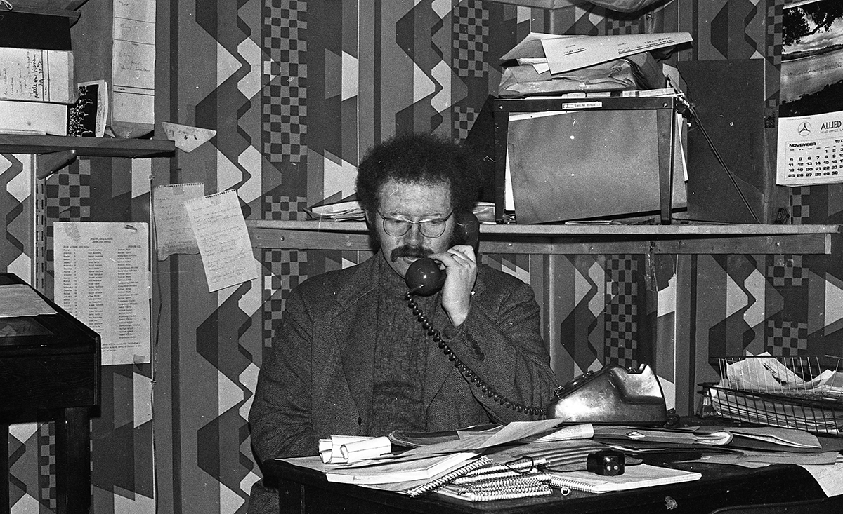 Peter McKee Archive // County Down, Antrim, Tyrone & L/Derry :: Peter McKee on the phone in his office in Belfast