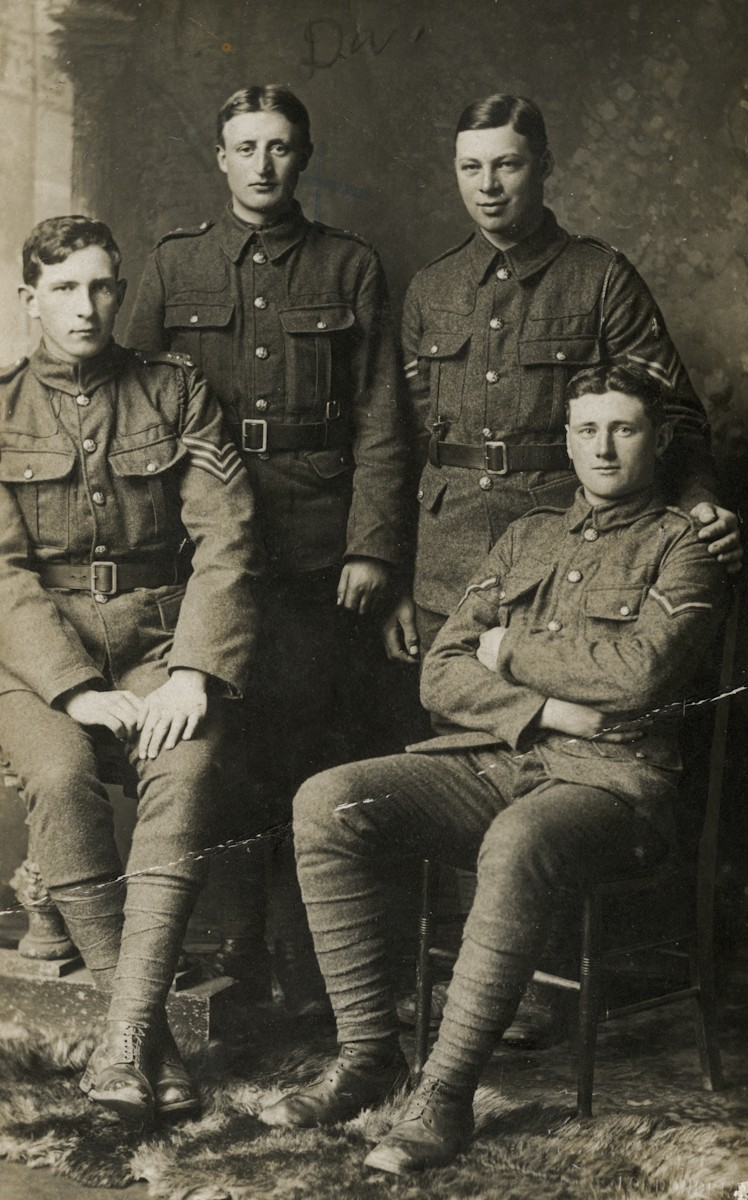 Roulston // County Donegal :: Studio photograph of four 11th Royal Inniskilling Fusiliers soldiers taken during the First World War