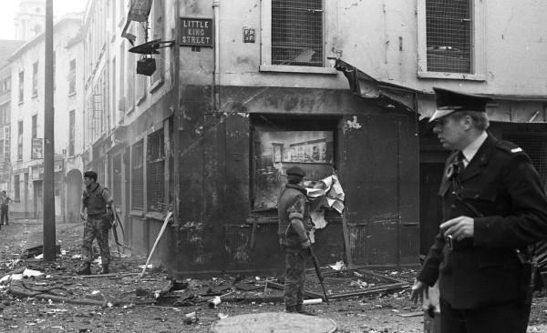 Aftermath of bomb blast Little King Street Belfast