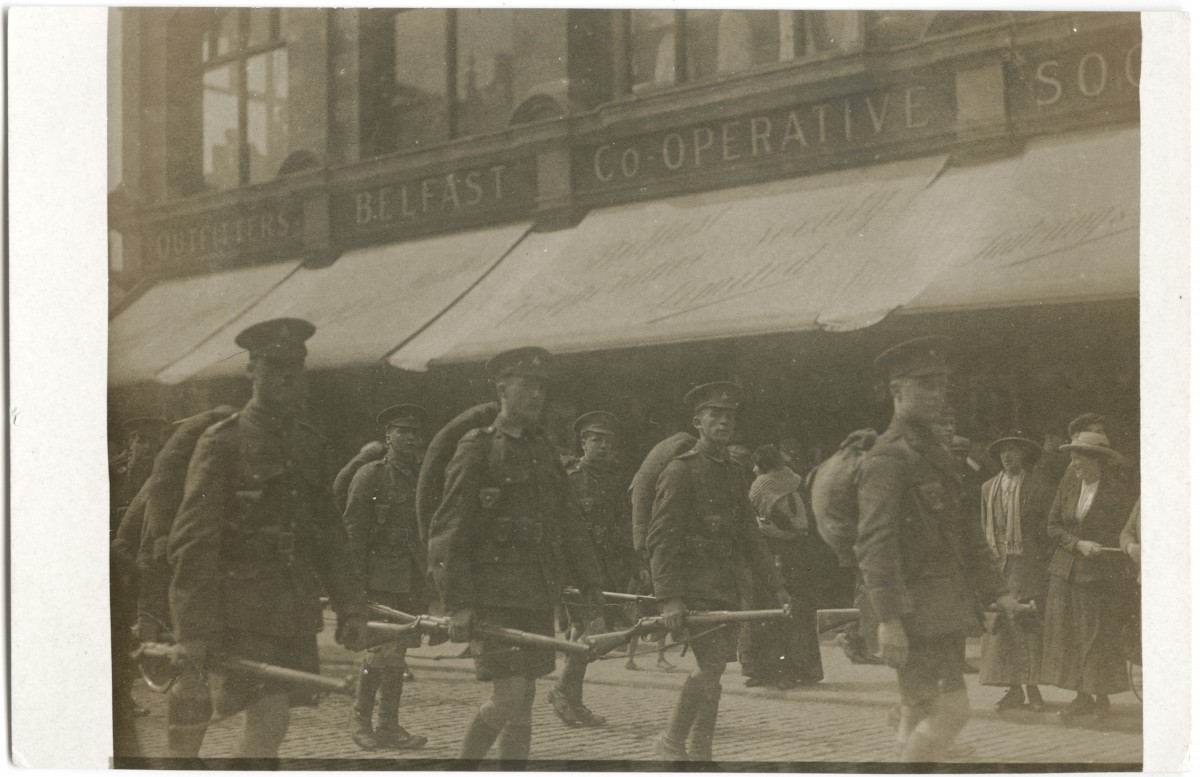 Roulston // County Donegal :: Soldiers marching through Belfast - First World War