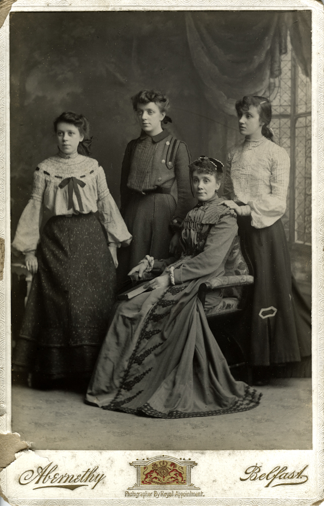Carney // County Down :: Winifred Carney photographed with her mother, Sarah Carney (nee Cassidy, seated) and sisters Maud and Mabel.