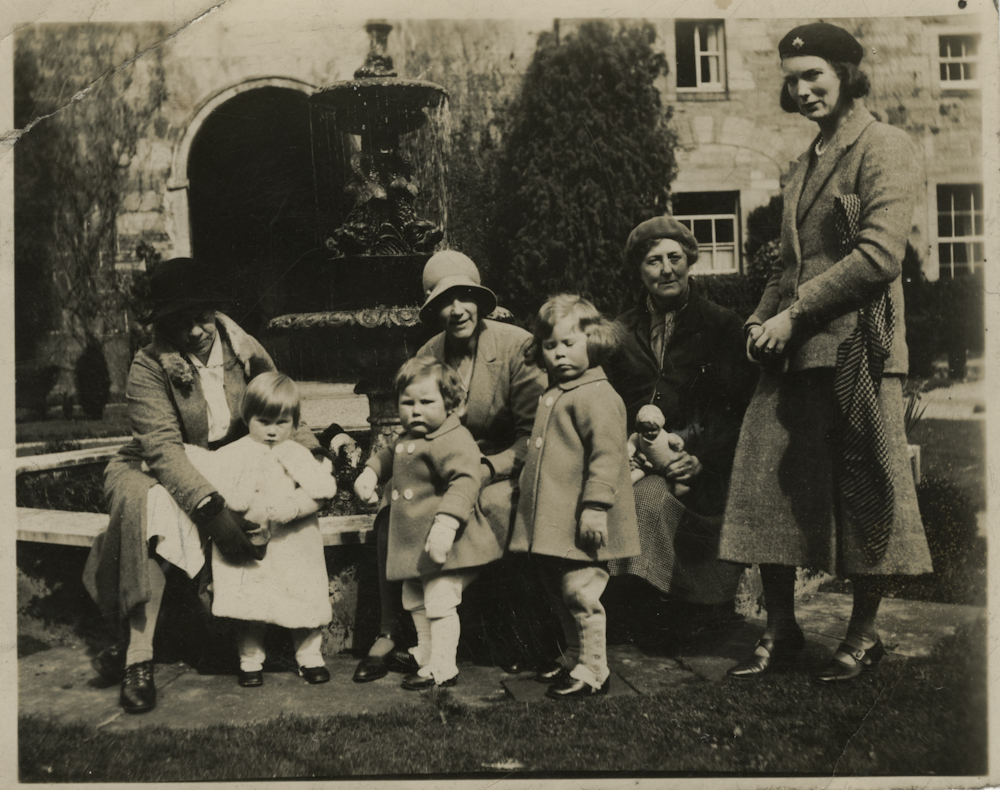 Law // County Donegal :: Rosemary Law, her children Stephen and Bridget and her mother Honor at Penicuik House, Scotland, circa 1932.