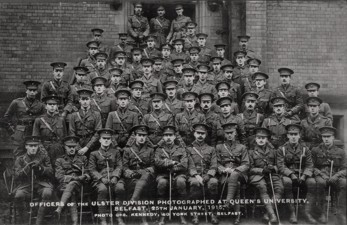 Knight // County Monaghan :: Officers of the Ulster Division Photographed at Queen's University, Belfast, 25th January, 1915.
