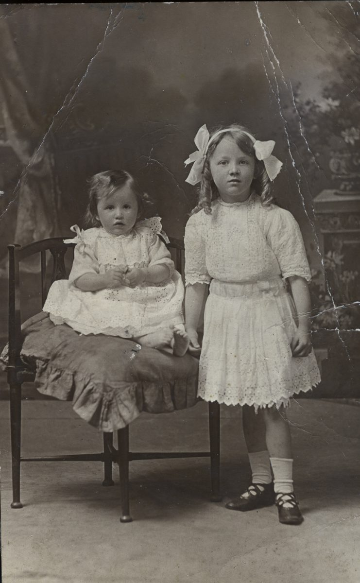 Stewart // County Monaghan :: Two little girls from the Stewart family in white dresses.