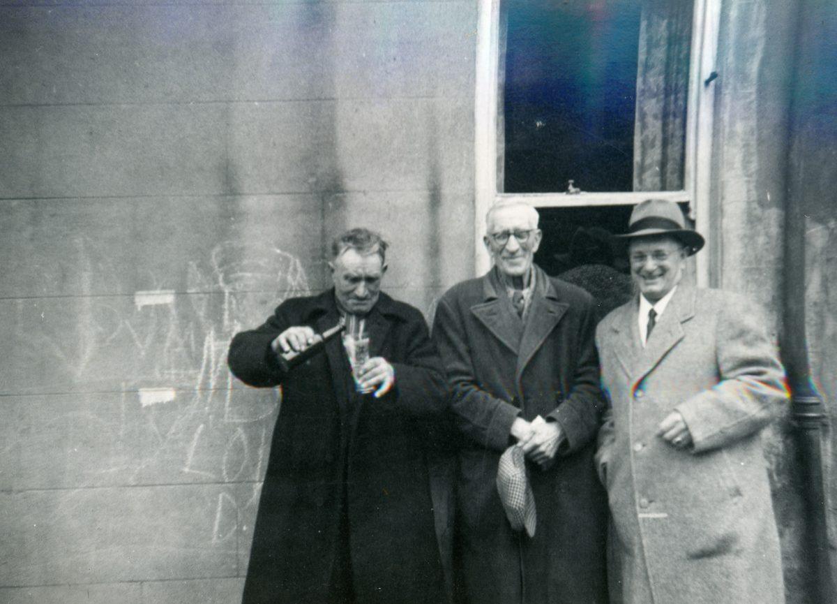 McNally // Boston & Lurgan :: Patrick Joseph McNally (r) with 2 men, Lurgan, N. Ireland, June-July, 1954