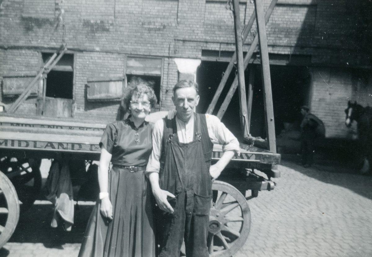 "McNally // Boston & Lurgan :: Mary Rose McNally with relative Felix McCann (""Fili""), Lurgan, N. Ireland, June-July, 1954"