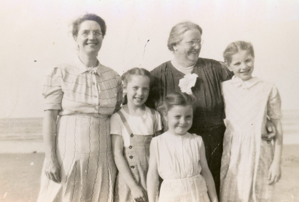 McNally // Boston & Lurgan :: Mary Rose McNally, her mother Sarah Morah McAtasney and her 3 neices, Lurgan, N. Ireland, June-July, 1954
