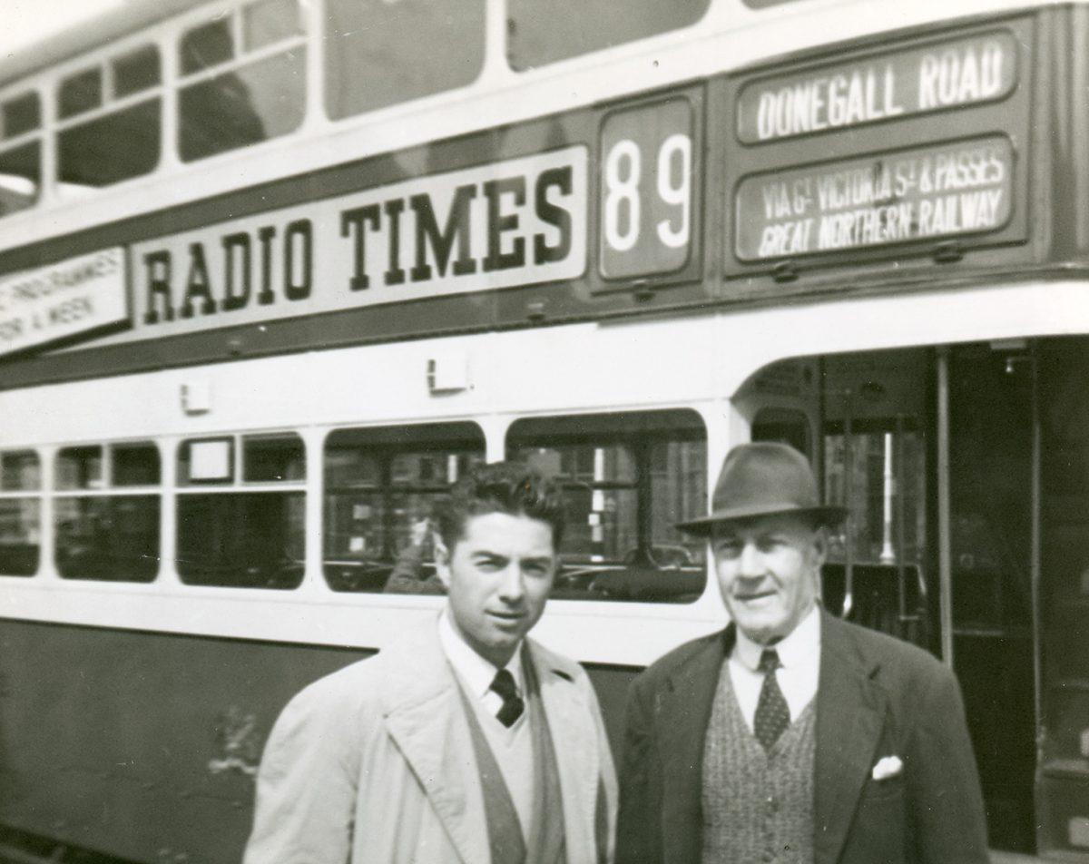 McNally // Boston & Lurgan :: Patrick McNally with family or friend, Belfast, N. Ireland (or Lurgan, Portadown), July-Aug, 1954