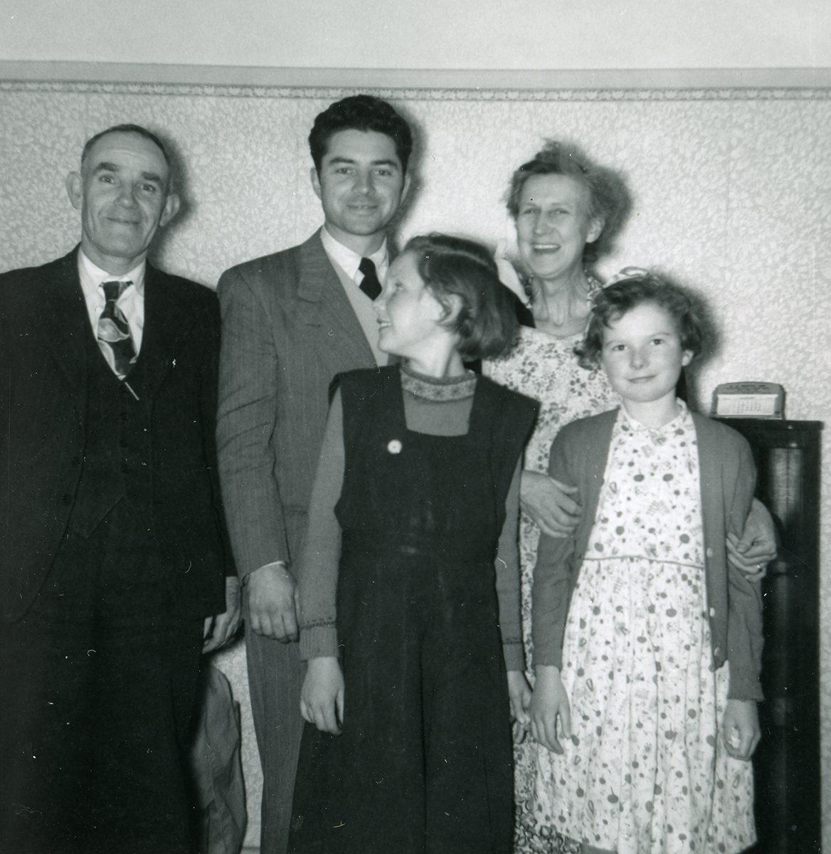 McNally // Boston & Lurgan :: Patrick McNally with some of the McAtasney family, Lurgan, N.Ireland, July, 1954
