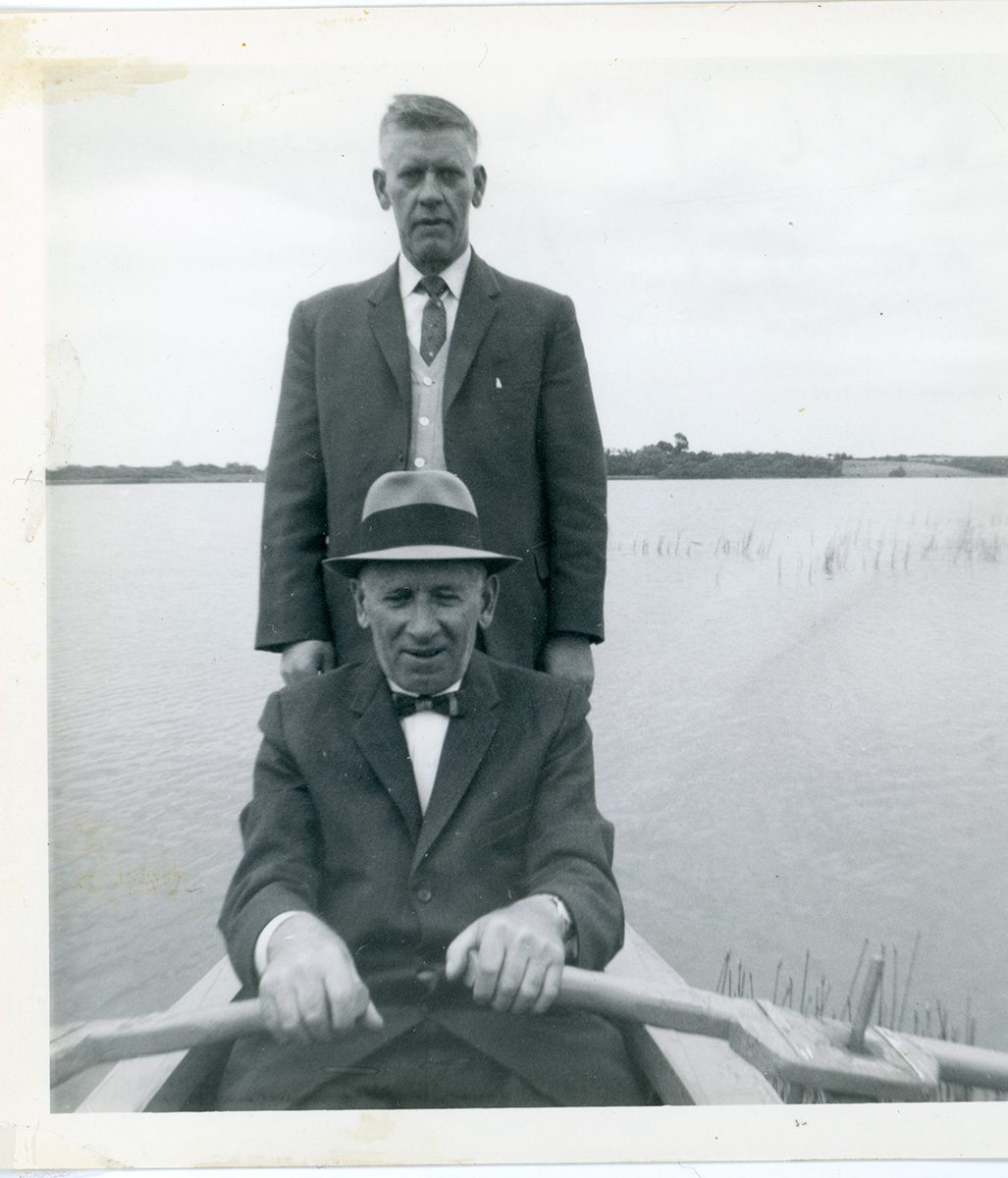 McNally // Boston & Lurgan :: Daniel Hendron with his brother Bill Hendron, Lough Neagh, N.Ireland, October, 1963