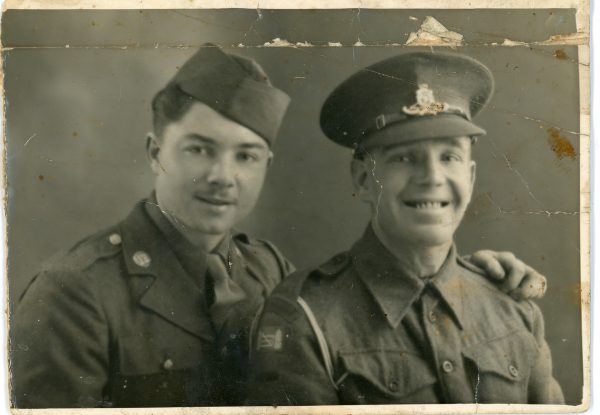 Private Patrick J. McNally, US Army (l) and another officer, 1944-45