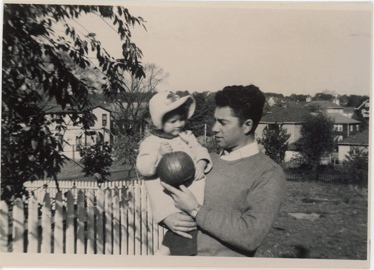 McNally // Boston & Lurgan :: Patrick John McNally holding daughter Beth McNally, Sullivan Rd, Quincy, MA, US, October, 1952