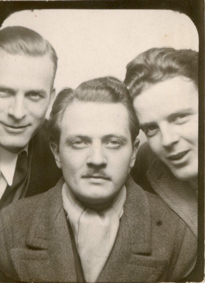 McDermott Family album / Washington DC :: Alice's father William with relative in photobooth, 1930s