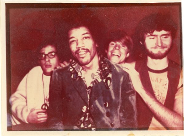 Chris and friends meet Jimi Hendrix - thanks to a rooster head, 1968
