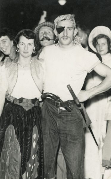 Ciara's grandparents, Brendan and Roisin Greene at a fancy dress party as pirate and gypsy, mid 1950s