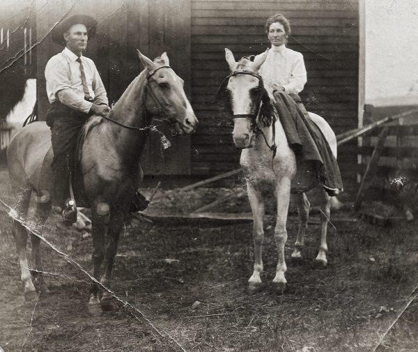 Tressa and Frank Yohe on the farm at Marysville Valley, Pennsylvania